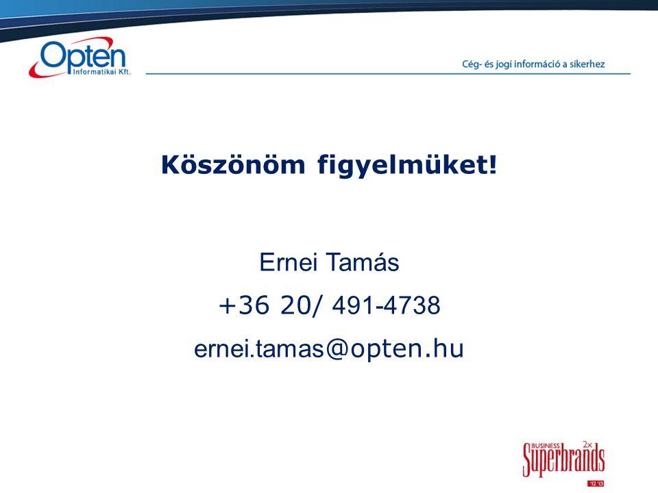 Köszönöm figyelmüket! Ernei Tamás +36 20/ 491-4738 ernei.tamas @opten.hu