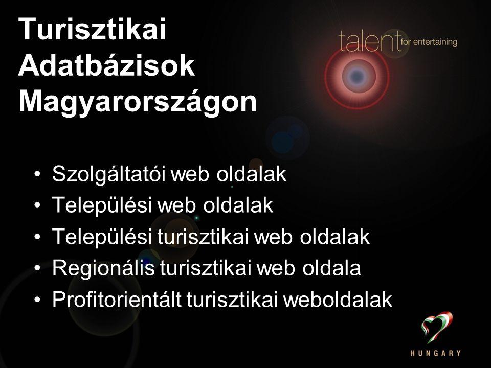 Turisztikai Adatbázisok Magyarországon Szolgáltatói web oldalak Települési web oldalak Települési turisztikai web oldalak Regionális turisztikai web oldala Profitorientált turisztikai weboldalak
