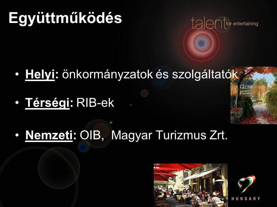 Együttműködés Helyi: önkormányzatok és szolgáltatók Térségi: RIB-ek Nemzeti: OIB, Magyar Turizmus Zrt.