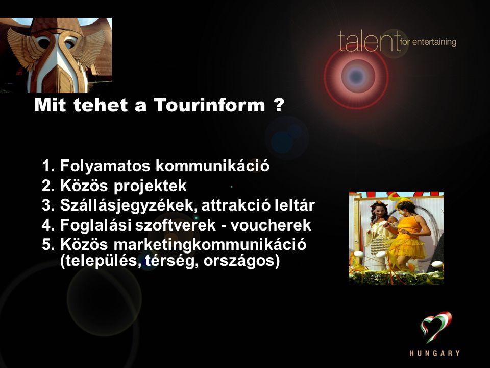 1.Folyamatos kommunikáció 2.Közös projektek 3.Szállásjegyzékek, attrakció leltár 4.Foglalási szoftverek - voucherek 5.Közös marketingkommunikáció (település, térség, országos) Mit tehet a Tourinform ?