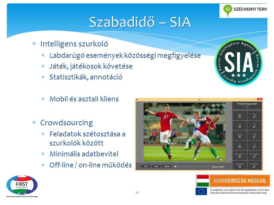  Intelligens szurkoló  Labdarúgó események közösségi megfigyelése  Játék, játékosok követése  Statisztikák, annotáció  Mobil és asztali kliens 