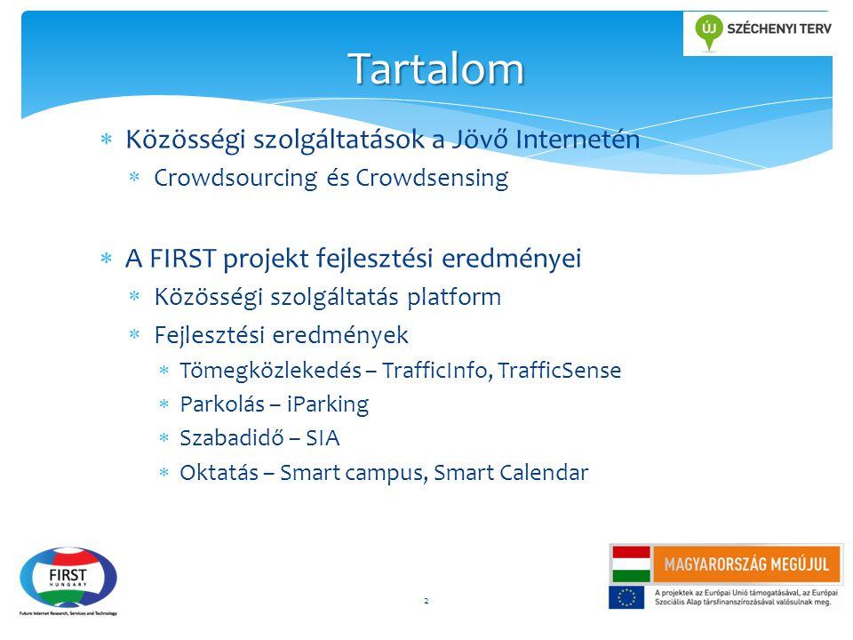  Közösségi szolgáltatások a Jövő Internetén  Crowdsourcing és Crowdsensing  A FIRST projekt fejlesztési eredményei  Közösségi szolgáltatás platfor