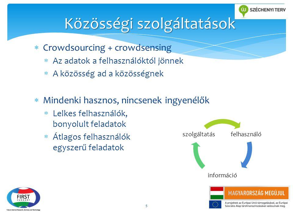  Crowdsourcing + crowdsensing  Az adatok a felhasználóktól jönnek  A közösség ad a közösségnek  Mindenki hasznos, nincsenek ingyenélők  Lelkes fe