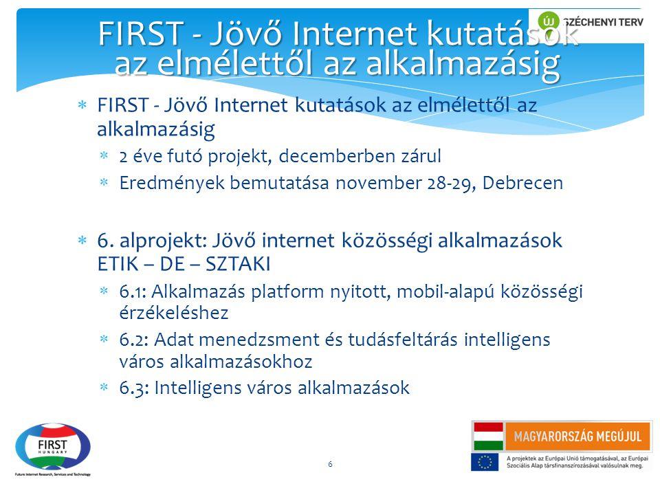  FIRST - Jövő Internet kutatások az elmélettől az alkalmazásig  2 éve futó projekt, decemberben zárul  Eredmények bemutatása november 28-29, Debrec