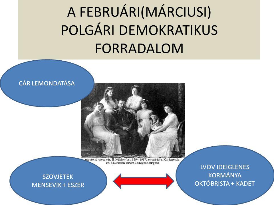 POLITIKAI ÁTRENDEZŐDÉS MENSEVIK ÉS ESZER BELÉPÉS KERENSZKIJ KORMÁNYA FOLYTATJA A HÁBORÚT LENIN FELLÉPÉSE/1917 IV.