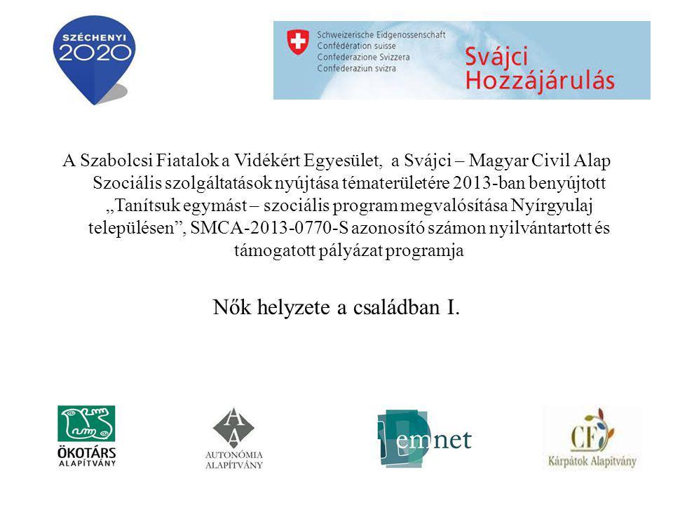 """A Szabolcsi Fiatalok a Vidékért Egyesület, a Svájci – Magyar Civil Alap Szociális szolgáltatások nyújtása tématerületére 2013-ban benyújtott """"Tanítsuk egymást – szociális program megvalósítása Nyírgyulaj településen , SMCA-2013-0770-S azonosító számon nyilvántartott és támogatott pályázat programja Nők helyzete a családban I."""