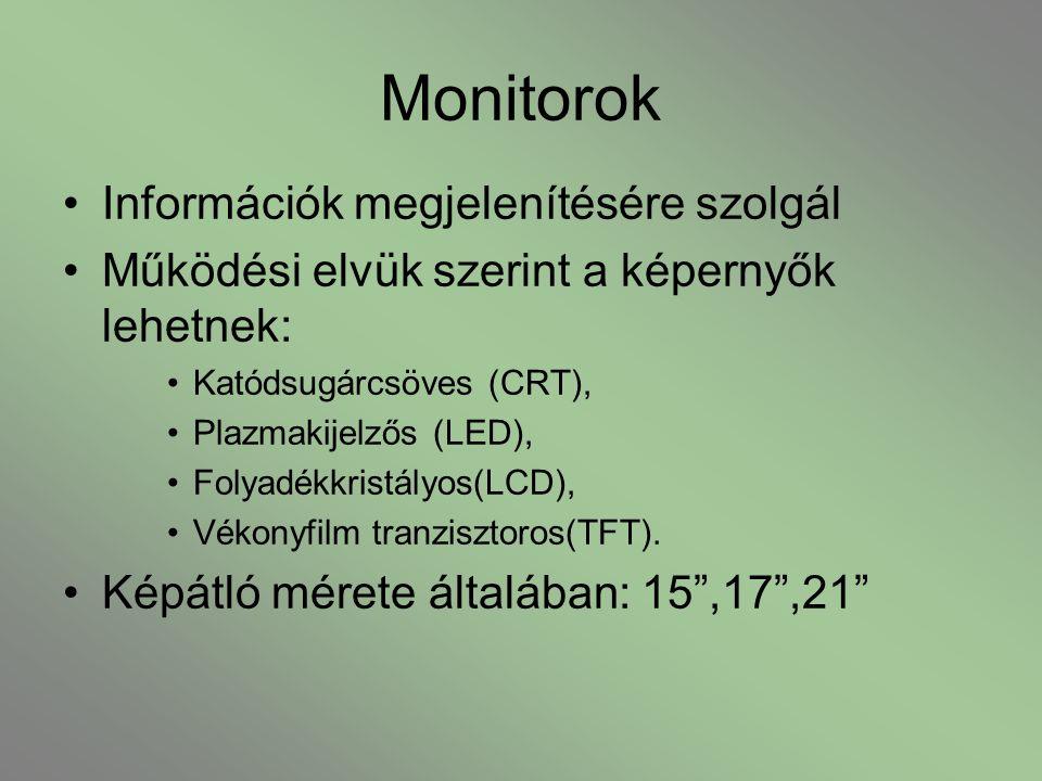Monitorok Információk megjelenítésére szolgál Működési elvük szerint a képernyők lehetnek: Katódsugárcsöves (CRT), Plazmakijelzős (LED), Folyadékkrist