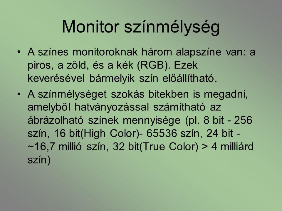 Monitor színmélység A színes monitoroknak három alapszíne van: a piros, a zöld, és a kék (RGB). Ezek keverésével bármelyik szín előállítható. A színmé