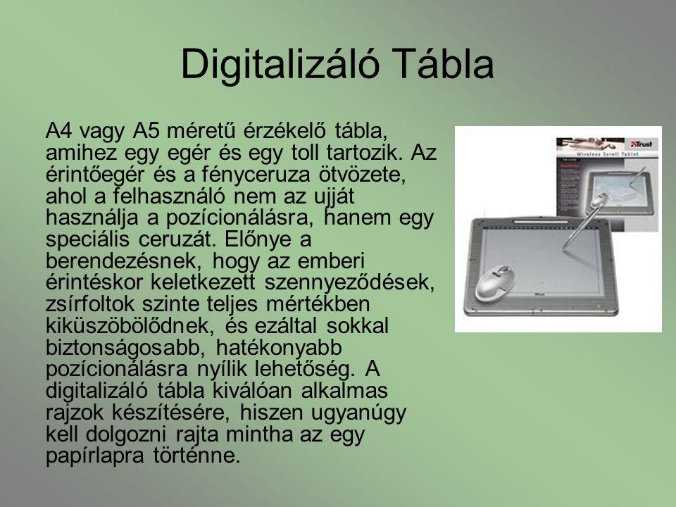 Digitalizáló Tábla A4 vagy A5 méretű érzékelő tábla, amihez egy egér és egy toll tartozik. Az érintőegér és a fényceruza ötvözete, ahol a felhasználó