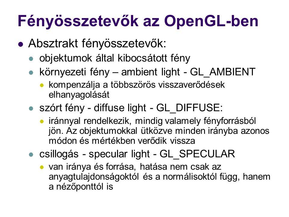 Fényösszetevők az OpenGL-ben Absztrakt fényösszetevők: objektumok által kibocsátott fény környezeti fény – ambient light - GL_AMBIENT kompenzálja a többszörös visszaverődések elhanyagolását szórt fény - diffuse light - GL_DIFFUSE: iránnyal rendelkezik, mindig valamely fényforrásból jön.