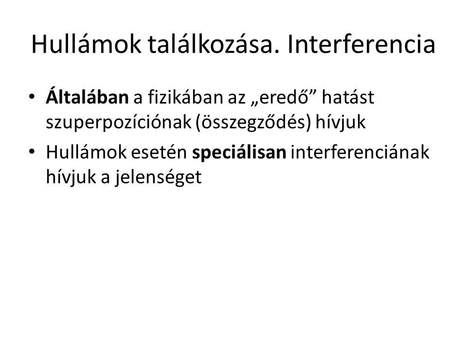 """Hullámok találkozása. Interferencia Általában a fizikában az """"eredő"""" hatást szuperpozíciónak (összegződés) hívjuk Hullámok esetén speciálisan interfer"""