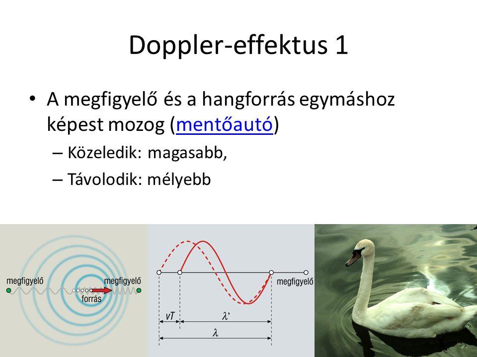 Doppler-effektus 1 A megfigyelő és a hangforrás egymáshoz képest mozog (mentőautó)mentőautó – Közeledik: magasabb, – Távolodik: mélyebb