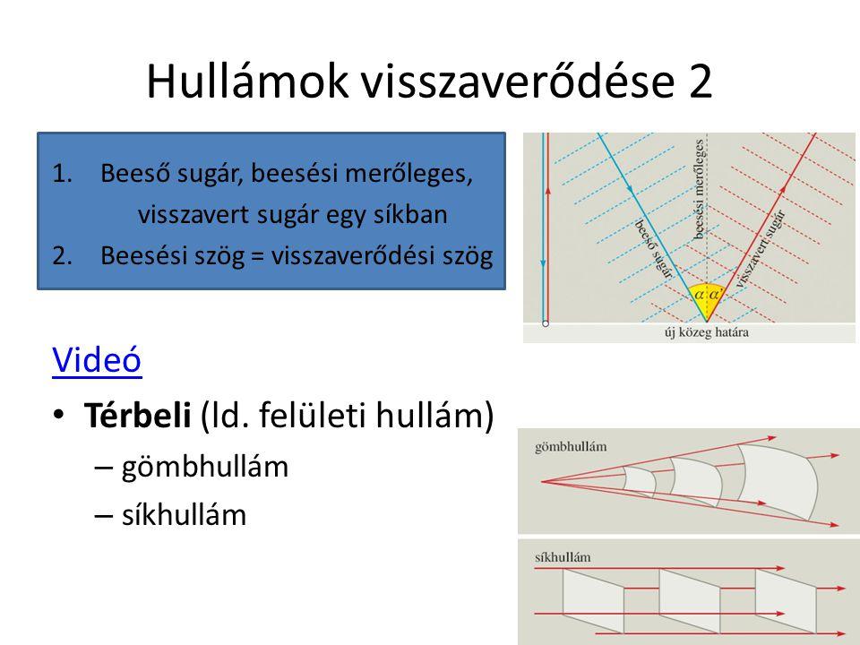 Hullámok visszaverődése 2 1.Beeső sugár, beesési merőleges, visszavert sugár egy síkban 2.Beesési szög = visszaverődési szög Videó Térbeli (ld. felüle