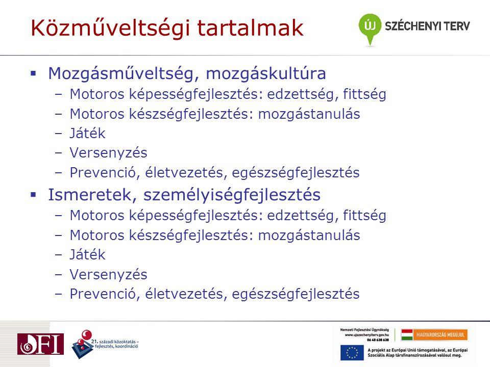 Közműveltségi tartalmak  Mozgásműveltség, mozgáskultúra –Motoros képességfejlesztés: edzettség, fittség –Motoros készségfejlesztés: mozgástanulás –Játék –Versenyzés –Prevenció, életvezetés, egészségfejlesztés  Ismeretek, személyiségfejlesztés –Motoros képességfejlesztés: edzettség, fittség –Motoros készségfejlesztés: mozgástanulás –Játék –Versenyzés –Prevenció, életvezetés, egészségfejlesztés