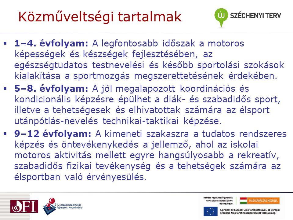 Közműveltségi tartalmak  1–4. évfolyam: A legfontosabb időszak a motoros képességek és készségek fejlesztésében, az egészségtudatos testnevelési és k