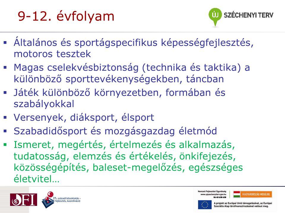 9-12. évfolyam  Általános és sportágspecifikus képességfejlesztés, motoros tesztek  Magas cselekvésbiztonság (technika és taktika) a különböző sport