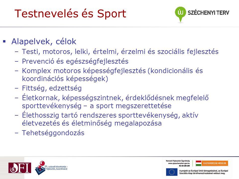 Testnevelés és Sport  Alapelvek, célok –Testi, motoros, lelki, értelmi, érzelmi és szociális fejlesztés –Prevenció és egészségfejlesztés –Komplex motoros képességfejlesztés (kondicionális és koordinációs képességek) –Fittség, edzettség –Életkornak, képességszintnek, érdeklődésnek megfelelő sporttevékenység – a sport megszerettetése –Élethosszig tartó rendszeres sporttevékenység, aktív életvezetés és életminőség megalapozása –Tehetséggondozás