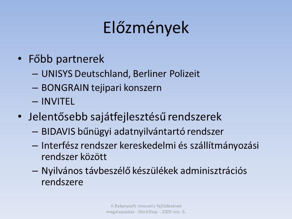 Előzmények Főbb partnerek – UNISYS Deutschland, Berliner Polizeit – BONGRAIN tejipari konszern – INVITEL Jelentősebb sajátfejlesztésű rendszerek – BIDAVIS bűnügyi adatnyilvántartó rendszer – Interfész rendszer kereskedelmi és szállítmányozási rendszer között – Nyilvános távbeszélő készülékek adminisztrációs rendszere A Bakonysoft innovatív fejlődésének megalapozása - WorkShop - 2009 nov.