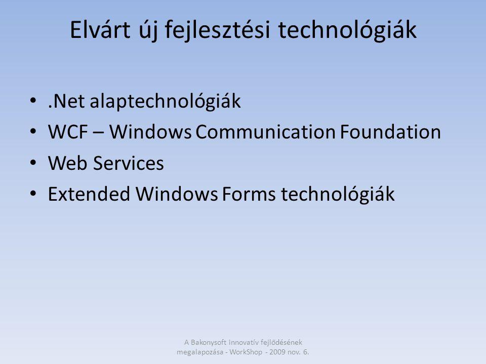 Elvárt új fejlesztési technológiák.Net alaptechnológiák WCF – Windows Communication Foundation Web Services Extended Windows Forms technológiák A Bakonysoft innovatív fejlődésének megalapozása - WorkShop - 2009 nov.