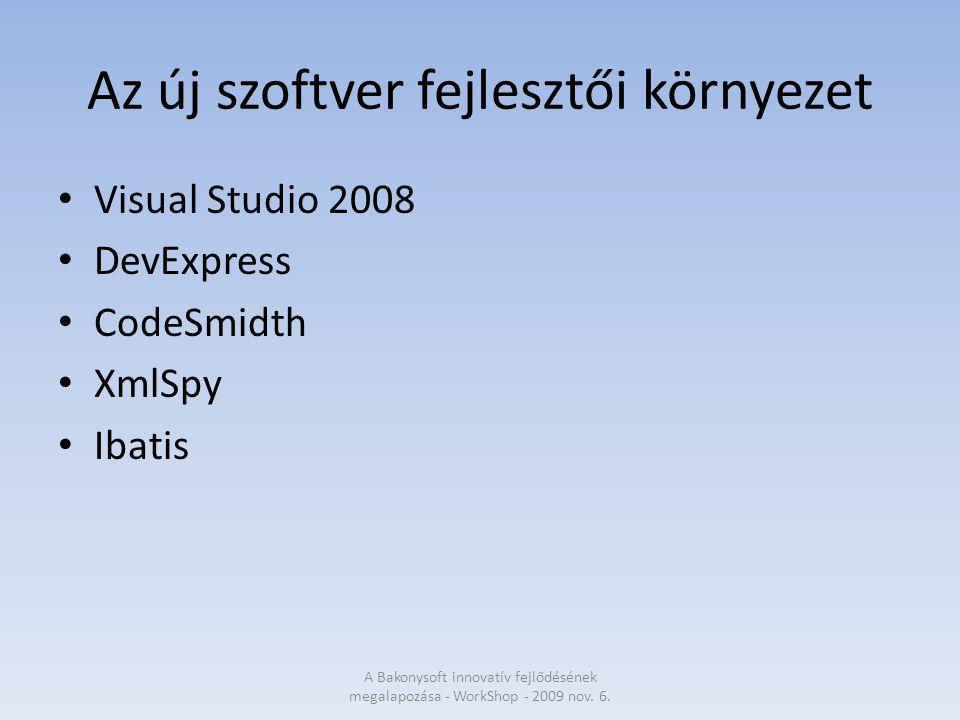 Az új szoftver fejlesztői környezet Visual Studio 2008 DevExpress CodeSmidth XmlSpy Ibatis A Bakonysoft innovatív fejlődésének megalapozása - WorkShop - 2009 nov.
