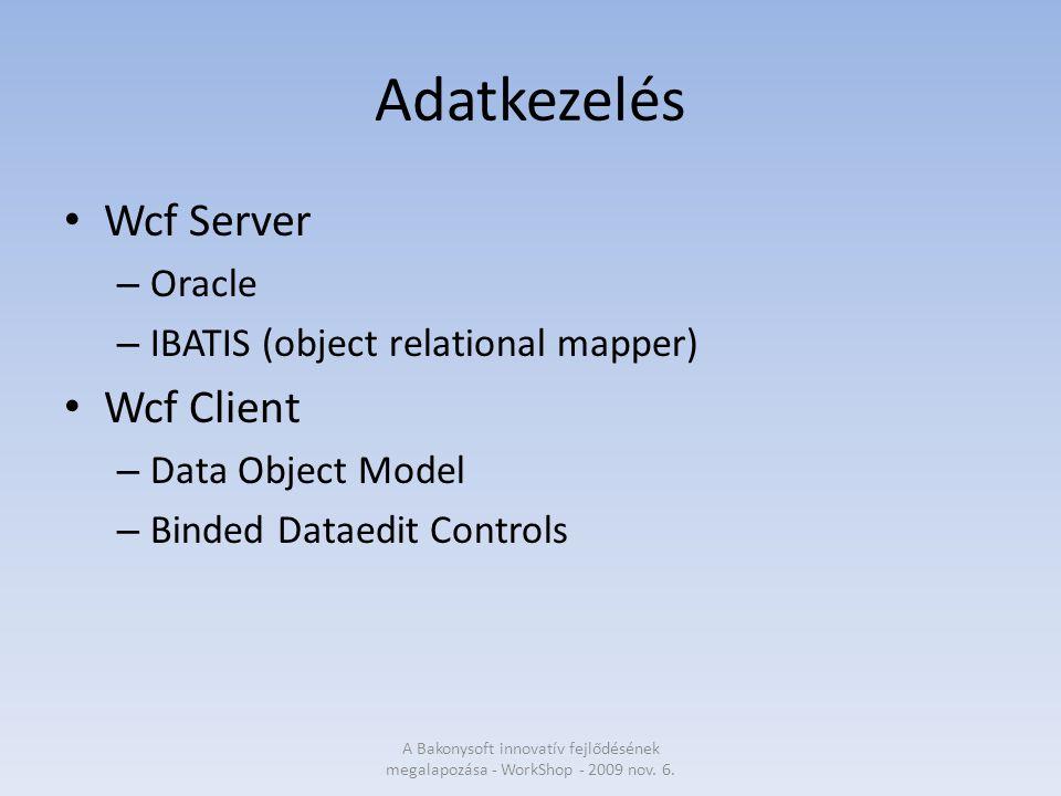 Tapasztalatok Az új technológiák tesztelése sikeres volt – Devexpress Gyors fejlesztés Szines formavilág Kiváló tapasztalatok a riportolással – WCF technológia Megbízható működés 2 MB-os korlát az elküldött üzenet méretében – Visual Studio 2008 Az új szolgáltatások rendkívül hasznosnak bizonyultak – Lambda kifejezések – linq to objects A Bakonysoft innovatív fejlődésének megalapozása - WorkShop - 2009 nov.