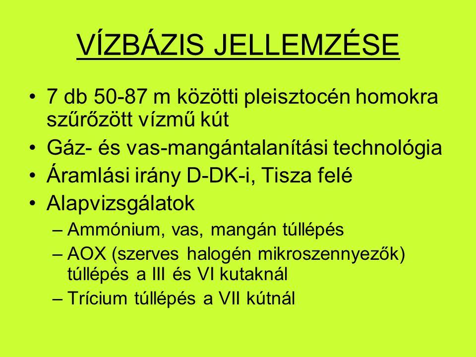 VÍZBÁZIS JELLEMZÉSE 7 db 50-87 m közötti pleisztocén homokra szűrőzött vízmű kút Gáz- és vas-mangántalanítási technológia Áramlási irány D-DK-i, Tisza felé Alapvizsgálatok –Ammónium, vas, mangán túllépés –AOX (szerves halogén mikroszennyezők) túllépés a III és VI kutaknál –Trícium túllépés a VII kútnál