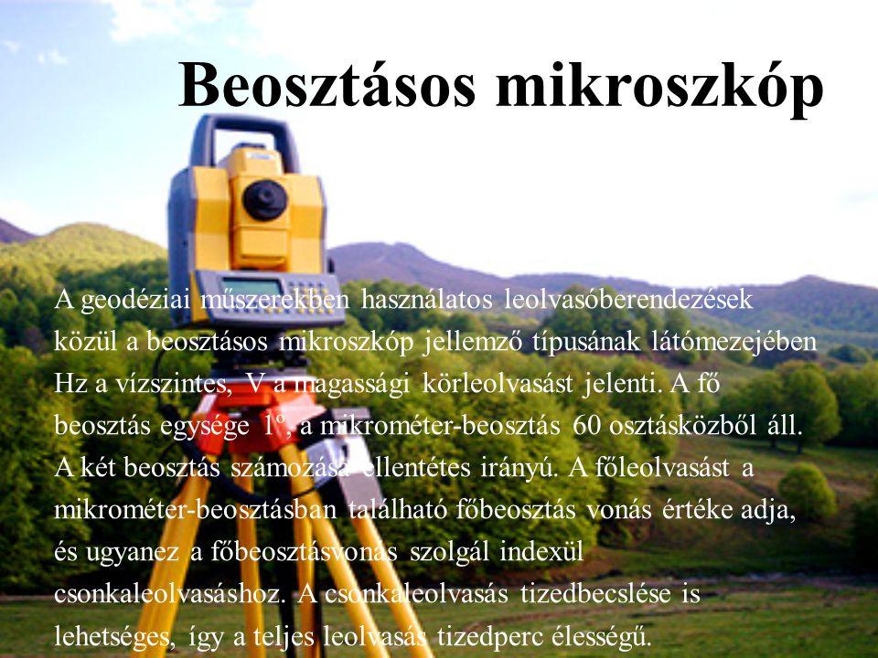 Beosztásos mikroszkóp A geodéziai műszerekben használatos leolvasóberendezések közül a beosztásos mikroszkóp jellemző típusának látómezejében Hz a víz