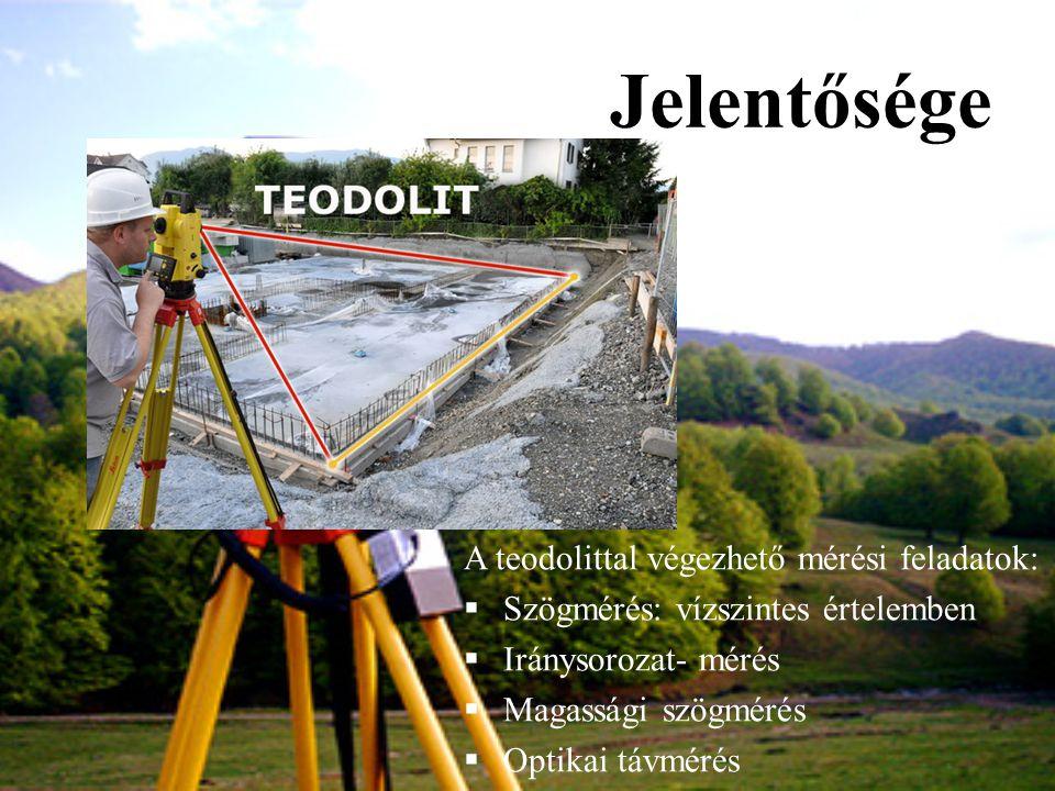 Jelentősége A teodolittal végezhető mérési feladatok:  Szögmérés: vízszintes értelemben  Iránysorozat- mérés  Magassági szögmérés  Optikai távméré