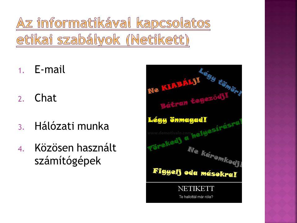 1. E-mail 2. Chat 3. Hálózati munka 4. Közösen használt számítógépek