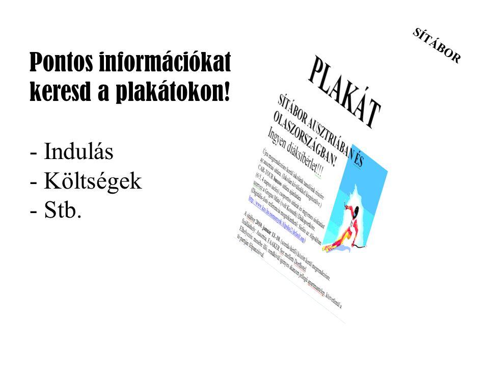 SÍTÁBOR Pontos információkat keresd a plakátokon! - Indulás - Költségek - Stb.