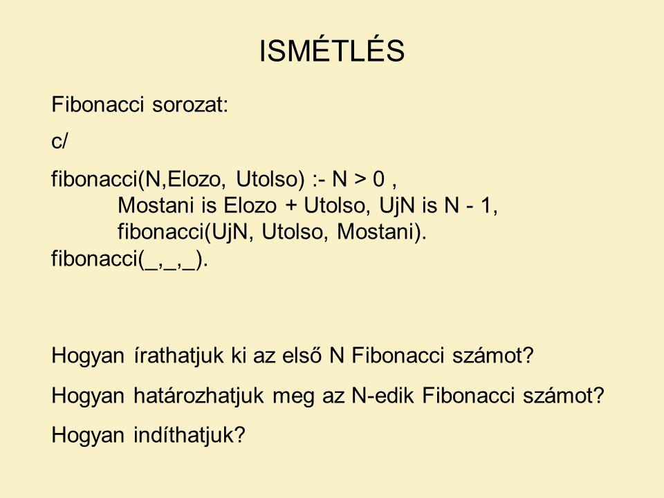 LISTÁK – PÉLDÁK Listaelem beszúrása: torol(Elem, [Elem | Torzs], Torzs).