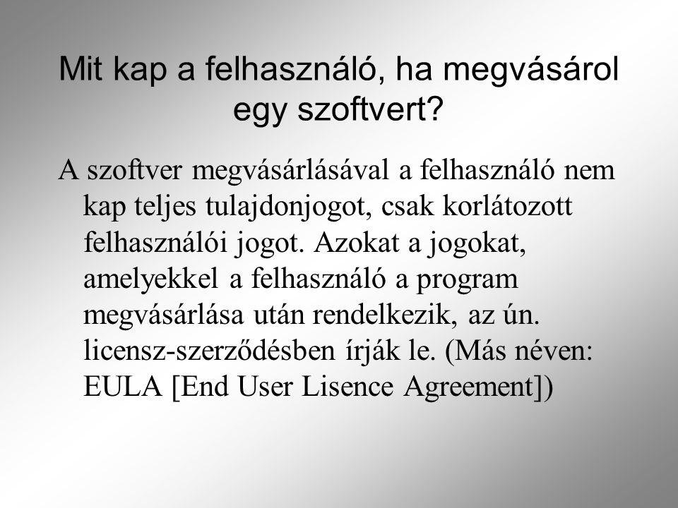Mit kap a felhasználó, ha megvásárol egy szoftvert? A szoftver megvásárlásával a felhasználó nem kap teljes tulajdonjogot, csak korlátozott felhasznál