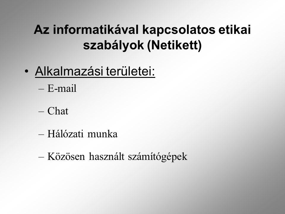 Az informatikával kapcsolatos etikai szabályok (Netikett) Alkalmazási területei: –E-mail –Chat –Hálózati munka –Közösen használt számítógépek