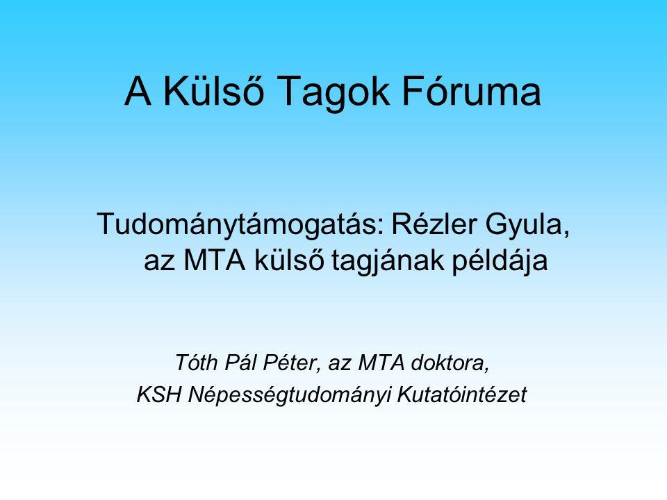 A Külső Tagok Fóruma Tudománytámogatás: Rézler Gyula, az MTA külső tagjának példája Tóth Pál Péter, az MTA doktora, KSH Népességtudományi Kutatóintéze