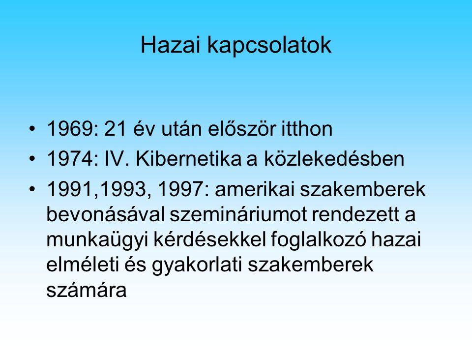 Hazai kapcsolatok 1969: 21 év után először itthon 1974: IV. Kibernetika a közlekedésben 1991,1993, 1997: amerikai szakemberek bevonásával szemináriumo