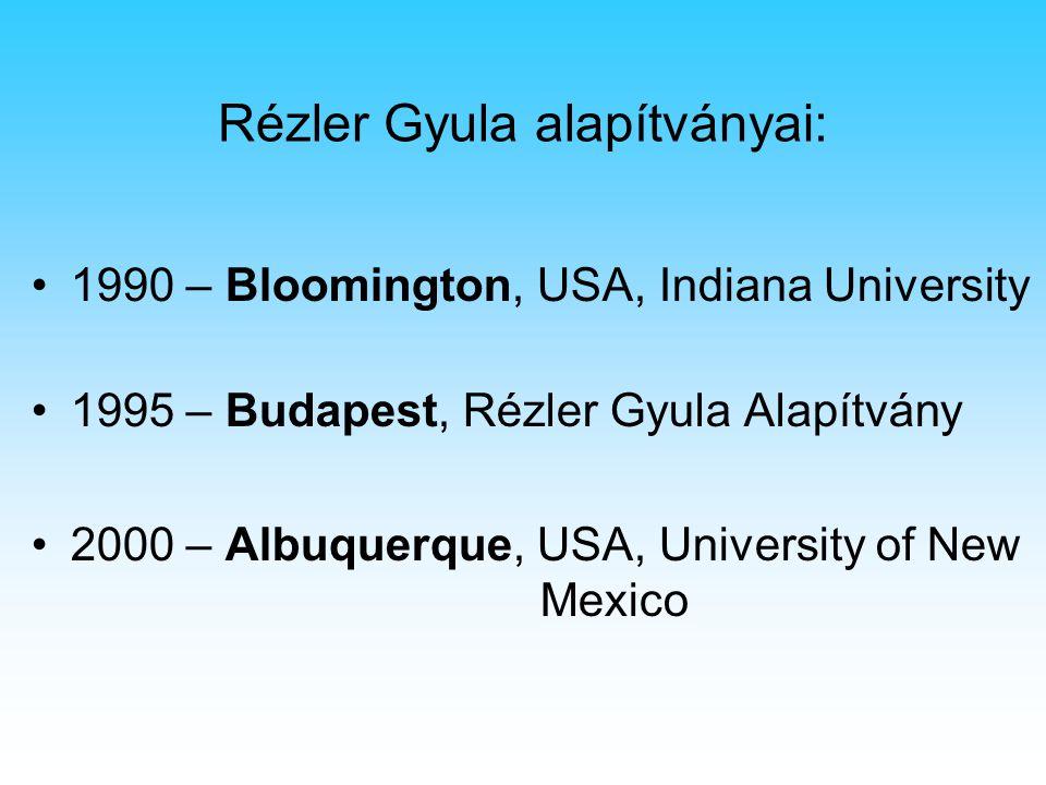 Rézler Gyula alapítványai: 1990 – Bloomington, USA, Indiana University 1995 – Budapest, Rézler Gyula Alapítvány 2000 – Albuquerque, USA, University of New Mexico