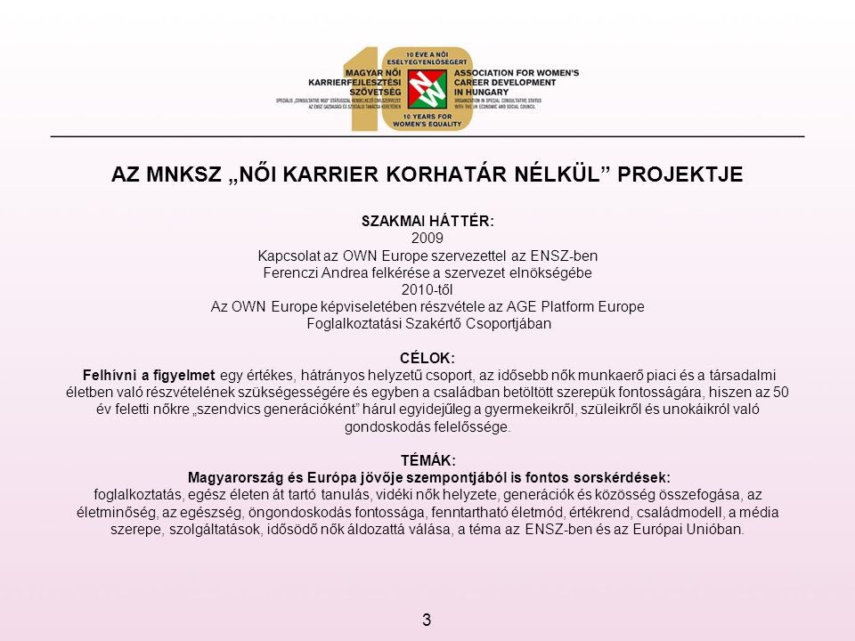 FELADATAINK: Jó példák megismerése, tapasztalatcsere: Az MNKSZ magyar és nemzetközi tapasztalatai és referenciái, kiemelten az Older Women Europe, az AGE Platform Europe szervezetekkel, valamint szlovák és lengyel civilszervezetekkel fennálló együttműködése alapján az idősödő nők esélyegyenlőségének és aktivitásának megtartása érdekében.