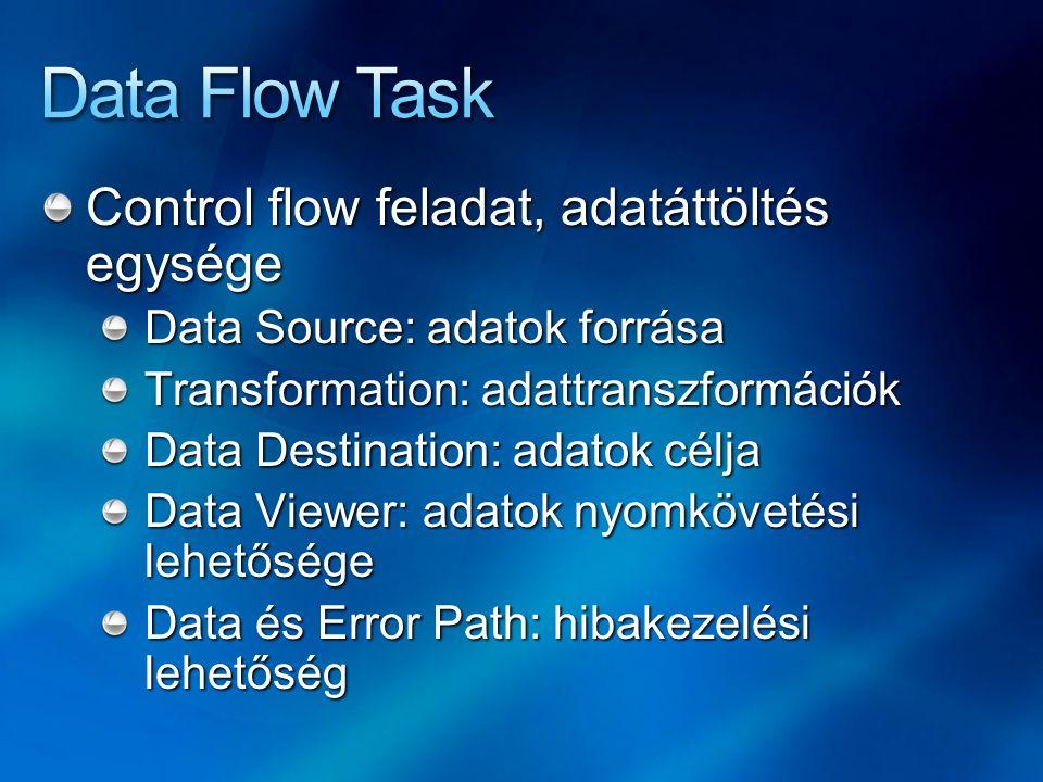 Control flow feladat, adatáttöltés egysége Data Source: adatok forrása Transformation: adattranszformációk Data Destination: adatok célja Data Viewer: