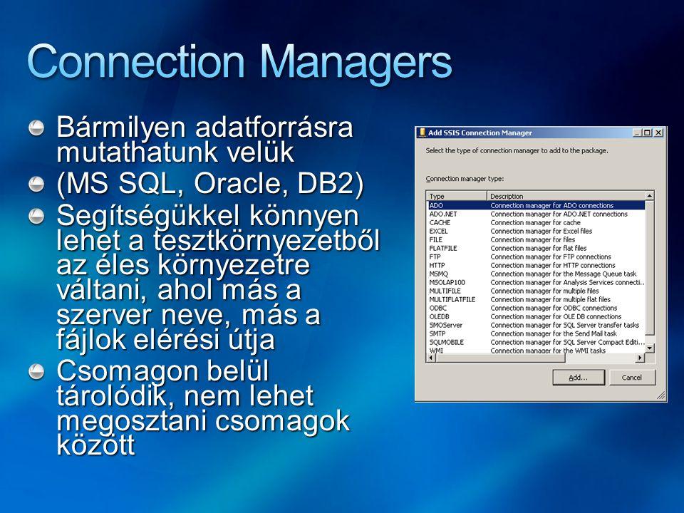 Bármilyen adatforrásra mutathatunk velük (MS SQL, Oracle, DB2) Segítségükkel könnyen lehet a tesztkörnyezetből az éles környezetre váltani, ahol más a
