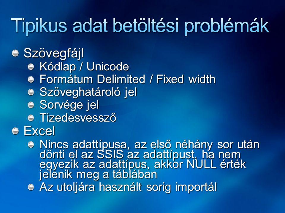 Szövegfájl Kódlap / Unicode Formátum Delimited / Fixed width Szöveghatároló jel Sorvége jel TizedesvesszőExcel Nincs adattípusa, az első néhány sor ut