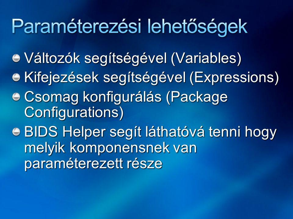 Változók segítségével (Variables) Kifejezések segítségével (Expressions) Csomag konfigurálás (Package Configurations) BIDS Helper segít láthatóvá tenn