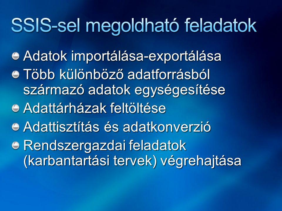 Adatok importálása-exportálása Több különböző adatforrásból származó adatok egységesítése Adattárházak feltöltése Adattisztítás és adatkonverzió Rends