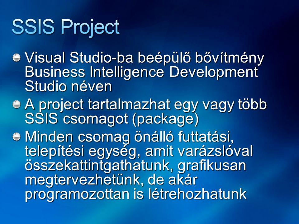 Visual Studio-ba beépülő bővítmény Business Intelligence Development Studio néven A project tartalmazhat egy vagy több SSIS csomagot (package) Minden