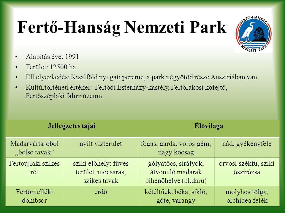 Fertő-Hanság Nemzeti Park Alapítás éve: 1991 Terület: 12500 ha Elhelyezkedés: Kisalföld nyugati pereme, a park négyötöd része Ausztriában van Kultúrtö