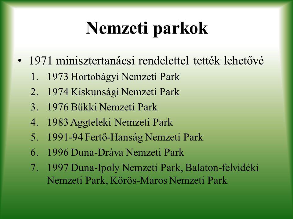 Nemzeti parkok 1971 minisztertanácsi rendelettel tették lehetővé 1.1973 Hortobágyi Nemzeti Park 2.1974 Kiskunsági Nemzeti Park 3.1976 Bükki Nemzeti Pa