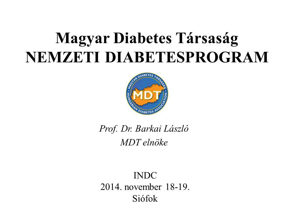 Magyar Diabetes Társaság NEMZETI DIABETESPROGRAM Prof. Dr. Barkai László MDT elnöke INDC 2014. november 18-19. Siófok