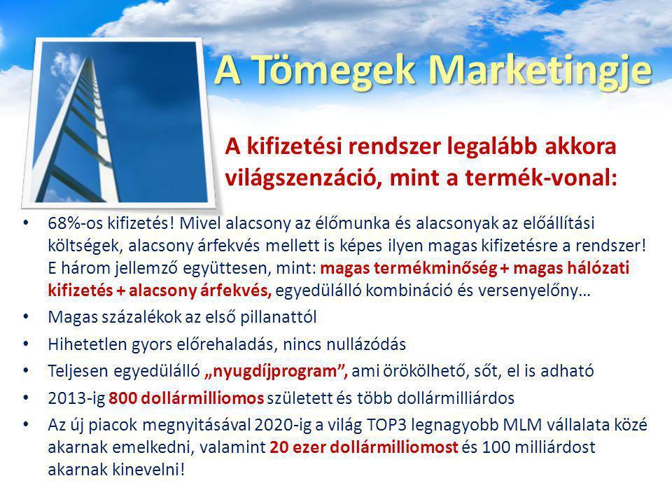 A Tömegek Marketingje 68%-os kifizetés! Mivel alacsony az élőmunka és alacsonyak az előállítási költségek, alacsony árfekvés mellett is képes ilyen ma
