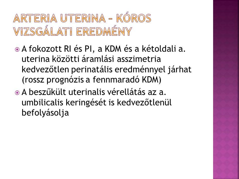  A fokozott RI és PI, a KDM és a kétoldali a. uterina közötti áramlási asszimetria kedvezőtlen perinatális eredménnyel járhat (rossz prognózis a fenn