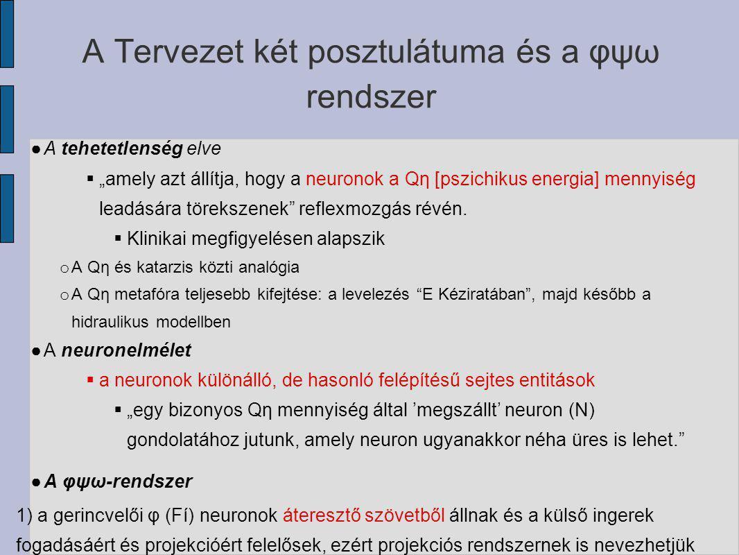"""A Tervezet két posztulátuma és a φψω rendszer ● A tehetetlenség elve  """"amely azt állítja, hogy a neuronok a Qη [pszichikus energia] mennyiség leadásá"""