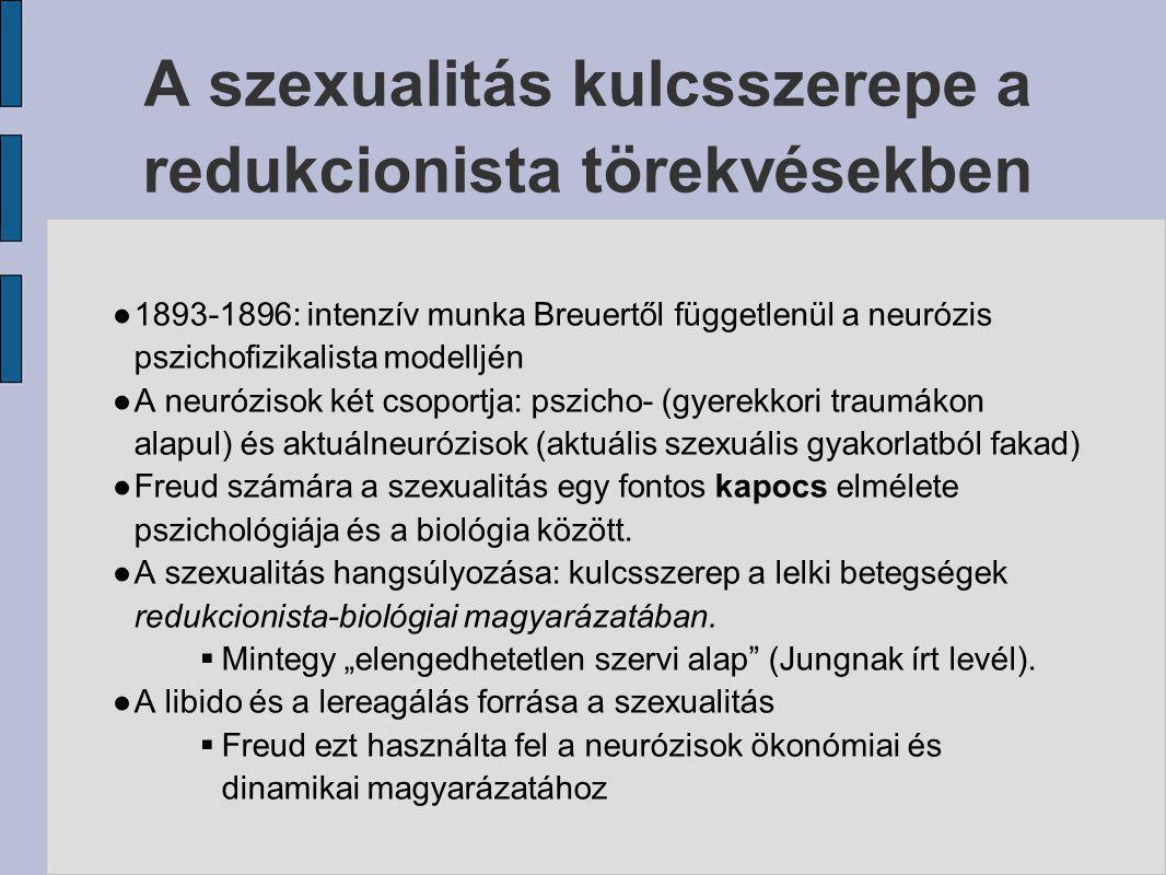 A szexualitás kulcsszerepe a redukcionista törekvésekben ● 1893-1896: intenzív munka Breuertől függetlenül a neurózis pszichofizikalista modelljén ● A